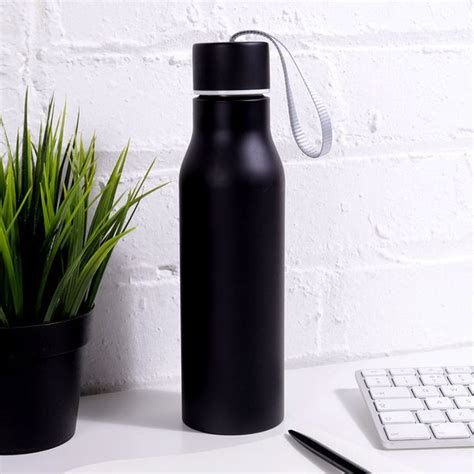 Black metal water bottle with strap   Paperchase