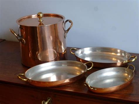 Tinned Set of Copper Stock Pot and Baking Pans For Sale at