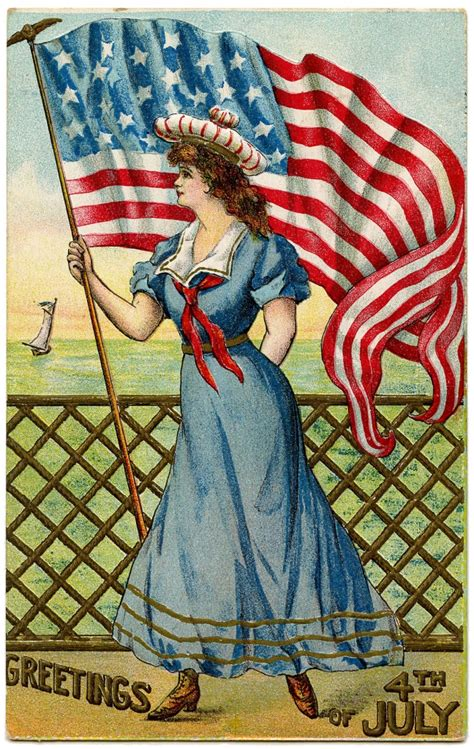 Vintage Patriotic Image - 4th of July - Sailor Girl - The