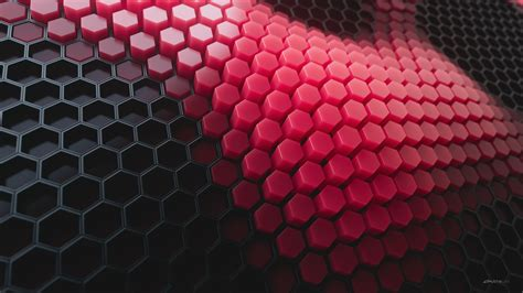 Hexagons 4K Wallpaper, Patterns, Red background, Red