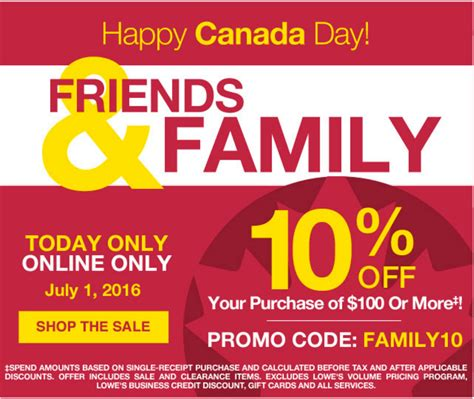 Lowe's Canada Day Promotions: Save 10% Off Your Online