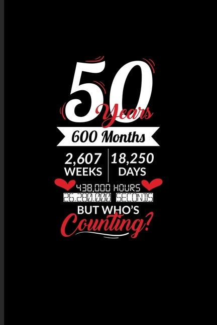 50 Years 600 Months 2,607 Weeks 18,250 Days 4380,000 Hours