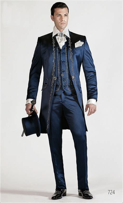 mens wedding suit blue tailcoat embroidery morning suit