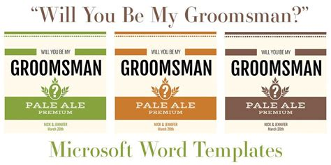 """Free Microsoft Word Templates for Beer Bottles: """"Will You"""