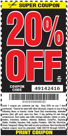 Hot Deal: Harbor Freight 20% Off Coupon Code for Memorial