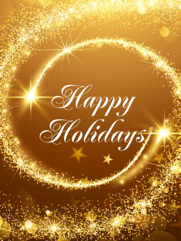 Golden Happy Holidays Card | Birthday & Greeting Cards by
