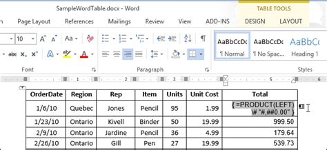 How we can use formula in Ms word document same like Excel