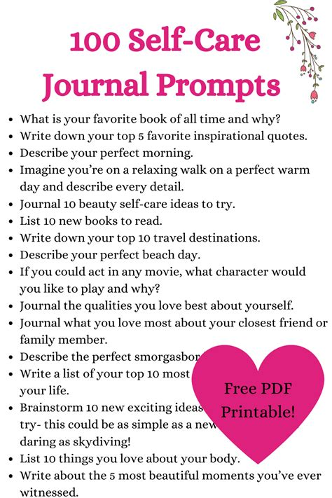 100 Self-care journal prompts with free printable journal