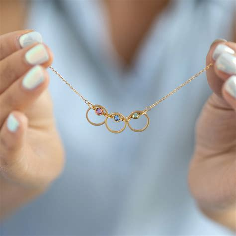 Triple Family Birthstone Linked Circle Necklace By Joy By
