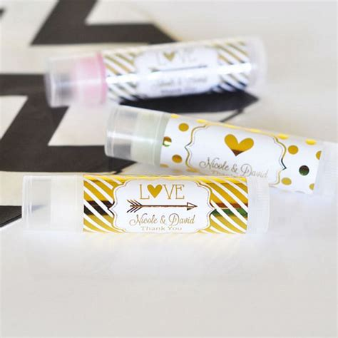 Wedding Lip Balm Tubes with Personalized Metallic Foil Labels