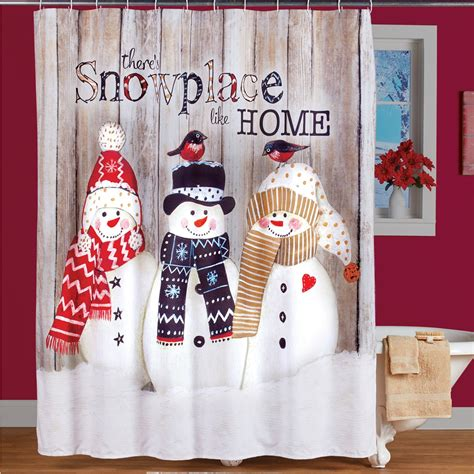 Rustic Snowman Holiday Shower Curtain | Collections Etc