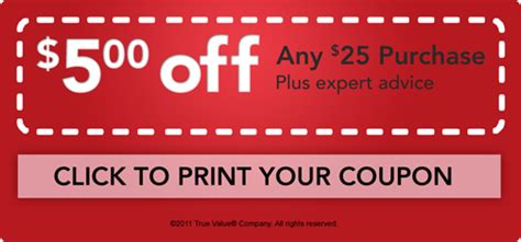 True Value Printable Coupon: $5 off $25 Purchase
