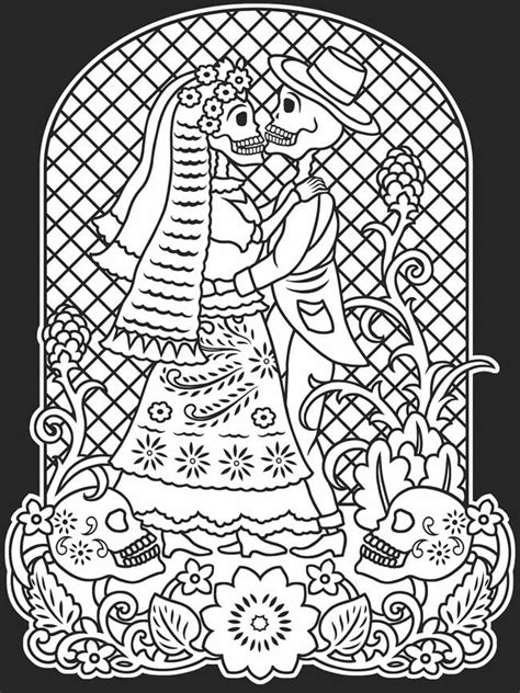 Kid Friendly Mexican Day Of The Dead Coloring Page