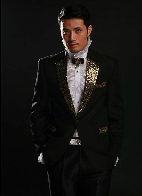 Custom Made To Measure Black Men Suit With Fully Gold