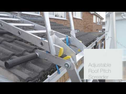 Pivit Ladder Tool used on Roof Ladder to make Level Space