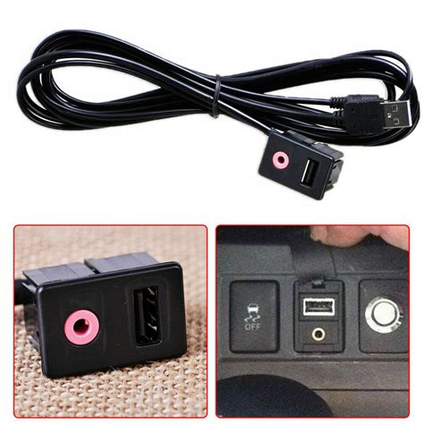 Car Dashboard Panel Audio Flush Mount Adapter Cable USB 3