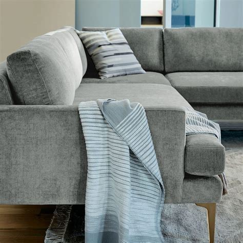 Andes L-Shaped Sectional - Mineral Grey (Distressed Velvet
