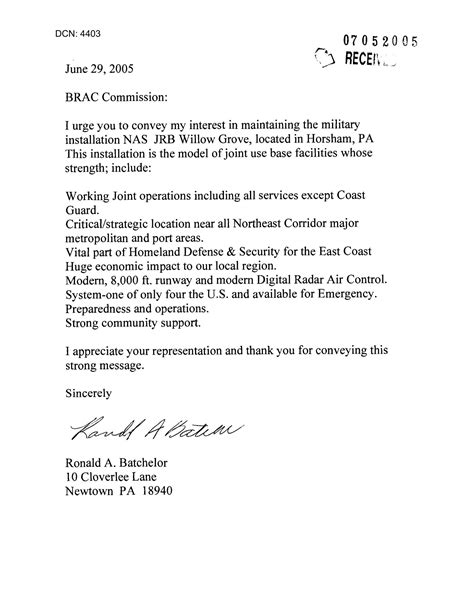Letter from Ronald A