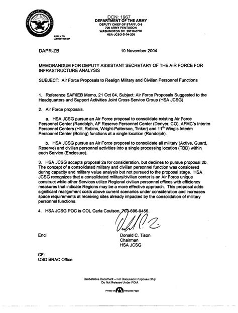 Memo on Air Force Proposals to Realign Military and