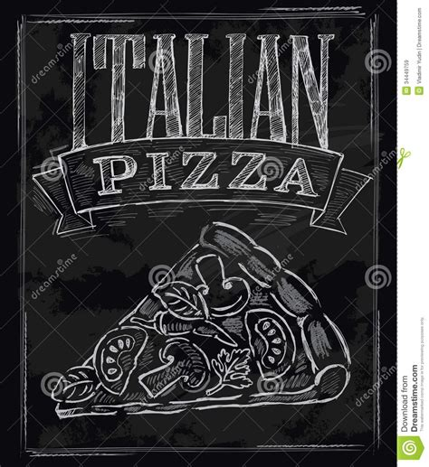 Chalk Pizza Royalty Free Stock Images - Image: 34449759