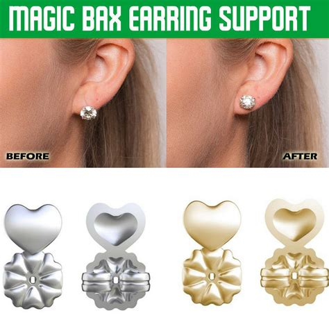 2pairs/gold+silver Earring backs Lifters Firmly Supports