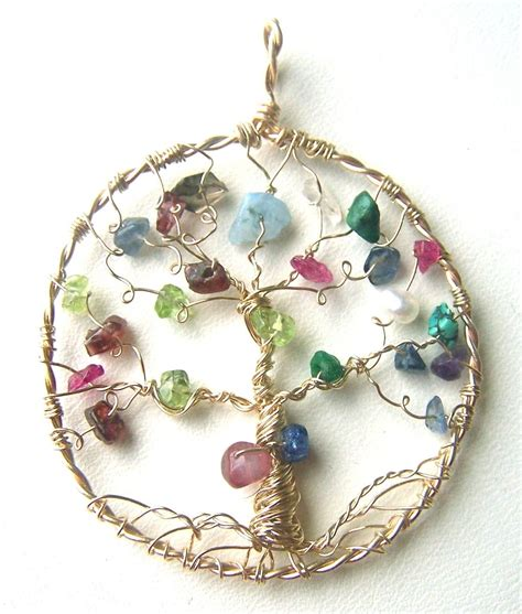 Buy a Hand Crafted Family Tree Necklace Pendant - Gold