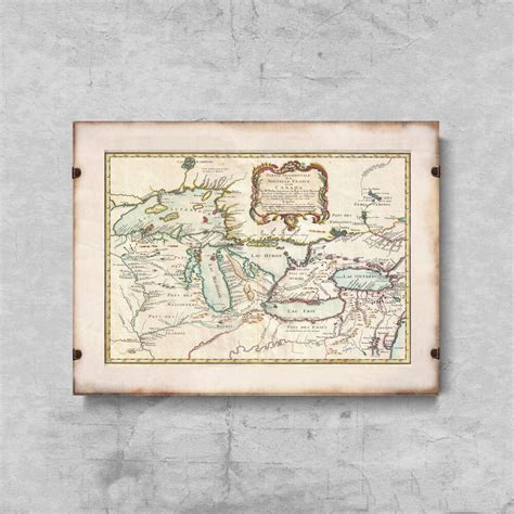 Bellin Map of the Great Lakes Canada Map - Poster