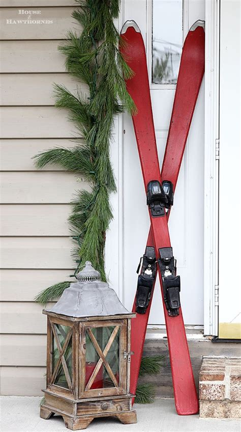 Chalk Painted Skis For A Winter Porch - House of Hawthornes