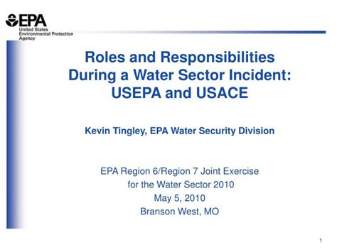 PPT - Roles and Responsibilities During a Water Sector
