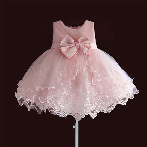 Brand New Baby Girl Dresses Pink White Pearl Bow Party