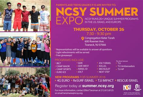 NCSY Summer Expo in Teaneck, NJ - NCSY Summer