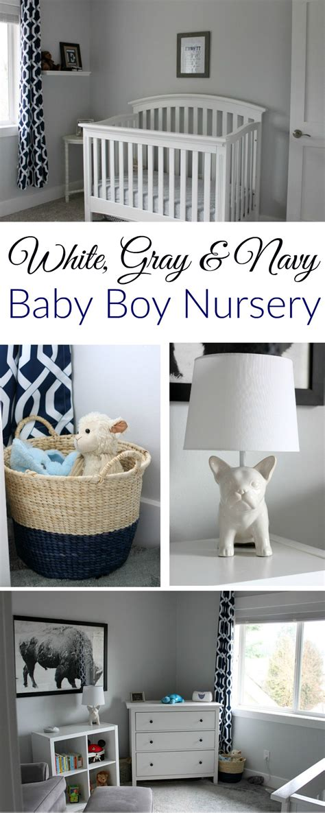 White, Gray and Navy Baby Boy Nursery - A Fit Mom's Life