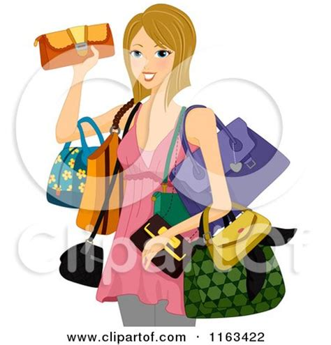 Clipart of a Pink Boutique Purse - Royalty Free Vector
