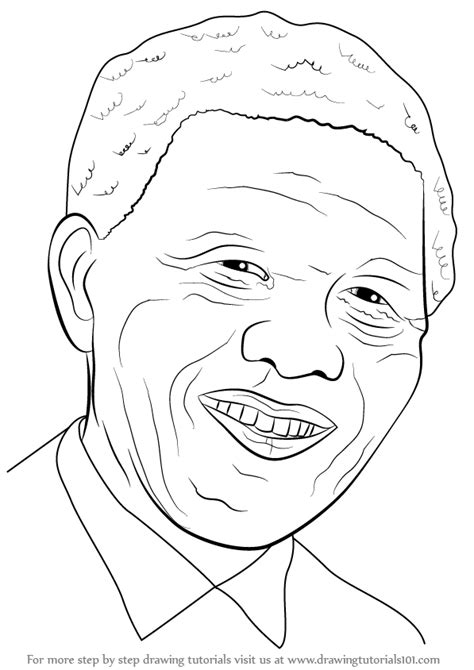 Step by Step How to Draw Nelson Mandela Face