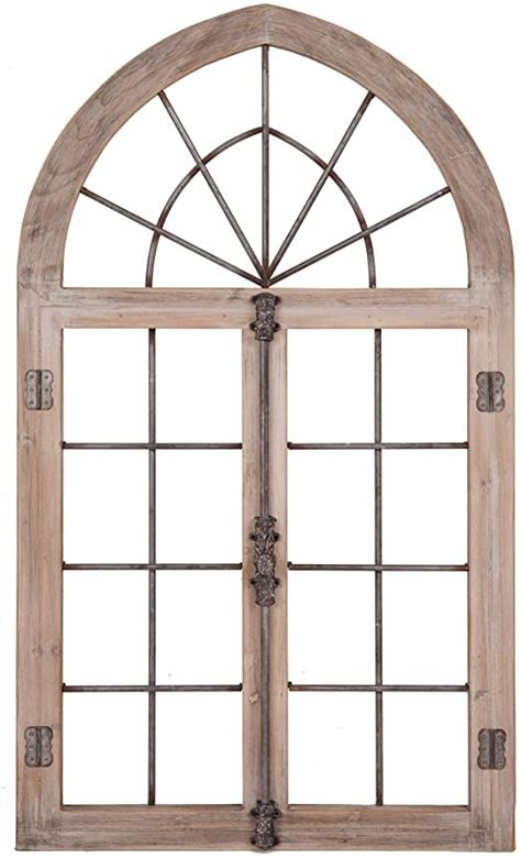 Distressed Gray Arched Cathedral Window Frame Wall Décor