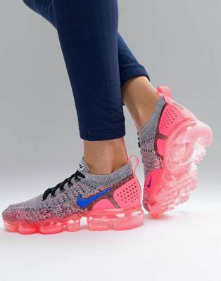 Nike Air Vapormax Flyknit Trainers In Grey And Pink   ASOS