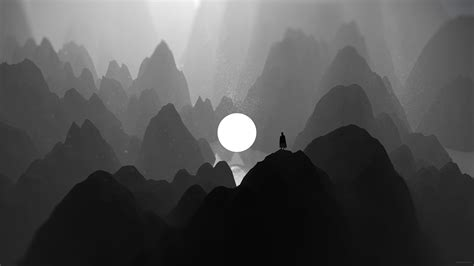 Black And White Moon Man Standing On Mountain Artwork, HD